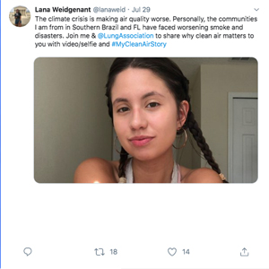 Climate activist Lana Weidgenant tweets her Clean Air Story